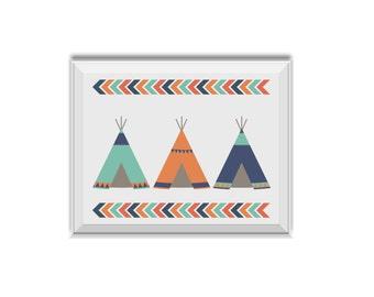Tribal Teepees, Tee Pees, Tribal Nursery Decor, Tribal Arrows, Chevron, Navy, Orange, Mint, Tribal Nursery Art, Teepee, New Baby Gift