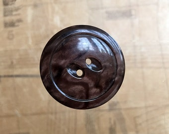 Art Deco Large Marbled Brown Button