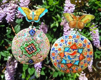 Ooak Sterling Assemblage Butterfly Earrings