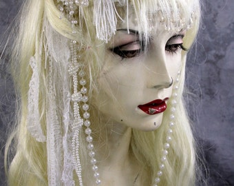 Order by 10/25 for Halloween delivery: White Fairy Full blonde Wig Headpiece Costume Renaissance Wedding head dress Headpiece Princess