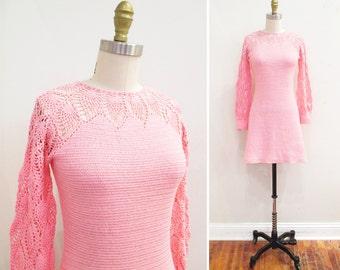 Vintage 1960s Dress | Pink Crochet 1960s Mini Dress | size small