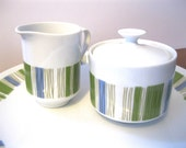 Vintage Mid Century Pottery Sugar Bowl and Creamer Set Mikasa Tropicana Kitchen and Dining