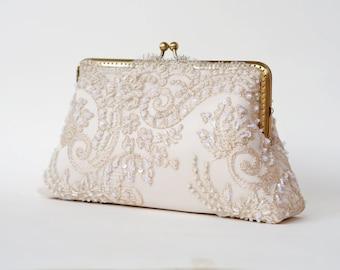 Elegant wedding Lace Silk Clutch in Neutral Grant Beige, Fall wedding, Vintage inspired , wedding bag, bridesmaid clutch, Bridal clutch