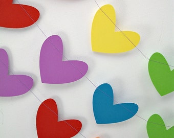 Rainbows Hearts 12ft Garland: Rainbow Garland, Rainbow Birthday Party, 1st Birthday Girl, Heart Backdrop, Noah's Ark Birthday Party