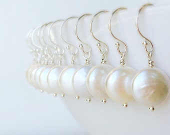 SET OF SEVEN coin pearl earrings, bridesmaid gift, bridesmaid earrings, freshwater pearl earrings, sterling silver, bridesmaid gifts
