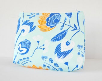 Beauty bag woman's cosmetics make up bag Abstract floral in orange,aqua blue,royal blue and white.