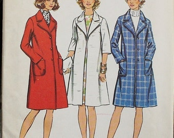 Simplicity 5526 1970s 70s Midi Lined Coat Jacket Vintage Sewing Pattern Size 14 Bust 36