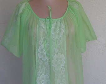 Vintage Sheer Robe Dressing Gown Lime Green Chiffon Shadow Lace