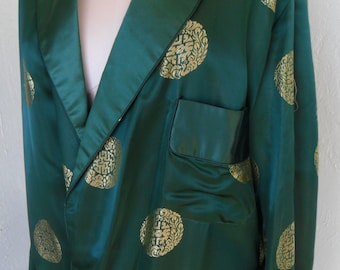 Vintage Solz Squirrel Satin Robe Green and Gold Men's