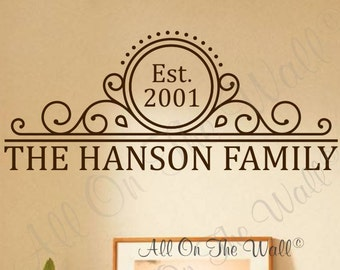Family Wall Decal Monogram Name Decal Last NameVinyl  Decal Personalized Home Decor Wall Stickers Home Vinyl Wall Lettering Family Last Name