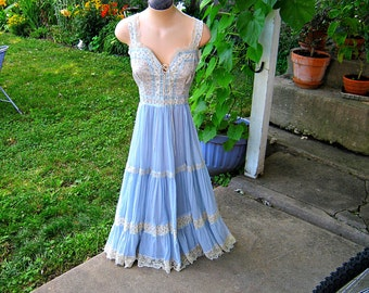 Vintage GUNNE SAX DRESS Lace-Up Prairie Sundress Blue Gauze & Calico Boho Calico Sz 13