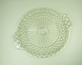 Vintage WATERFORD CAKE PLATE Waffle Handled Beveled Glass Anchor Hocking Pastry Display