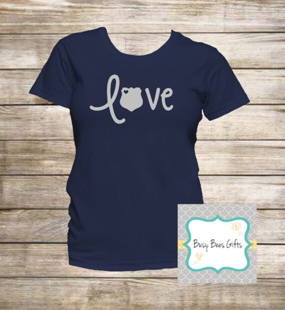 Police Officer Love T Shirt Law Enforcement Leo Wife