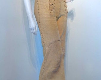 Vintage 1970s NORTH BEACH LEATHER Pants Handcrafted by Pieles Pitic Mexico // Whipstitch Detail