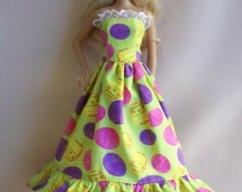 Handmade Barbie Clothes-Yellow/Green Easter Print With Eggs  Barbie Dress