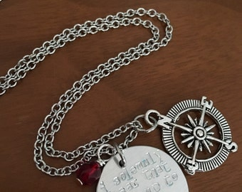 I Solemnly Swear Necklace:  Harry Potter Inspired Hand Stamped Pendant with Stainless Steel and Compass