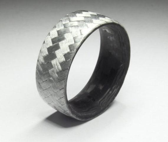 Pure Carbon Fiber Ring Two Tone Texalium Diagonal Pattern