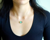 Bright Green Chysoprase Raw Slice Gold Dipped Connector Pendant Necklace