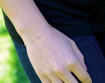Delicate Sterling Silver Heart Bracelet, Silver Heart Bracelet, Heart Charm Bracelet
