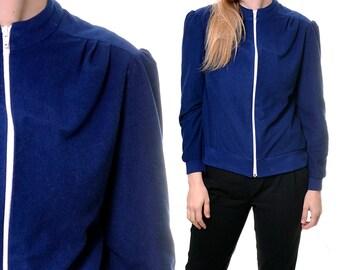 HOLIDAY SALE 1970s Appel zip up sweatshirt / blue zipper sweater / dark blue with white zipper track jacket / small medium