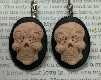 Pink Sugar Skull Earrings - Sugar Skulls Day of the Dead Jewelry Skulls Dia de los Muertos All Saints Day Mexican Holidays Fun Jewelry