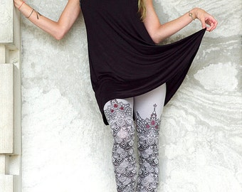 SCALE Leggings - Fantasy Fairytale Lggings - Jewel Art - Game of Thrones - scale leggings - mermaid leggings