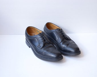 Vintage Florcheim Imperial Black Leather Wingtip Oxfords Mens 10 1/2