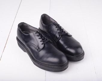 Vintage 1983 Cush N Crepe Black Leather Oxfords, Mens 9  / ITEM244
