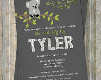 koala baby shower invitation, shower invitation, digital, printable file