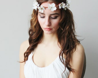 Ivory Flower Halo Hair Vine Rustic Bridal Wedding Accessories