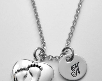 Mother's locket - silver plated baby feet locket - with initial or name on stainless steel disc - holds two small photos - See ALL photos!!