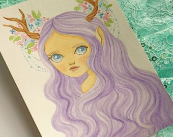 Illustration of a Woodland Spring Nymph, Original Watercolor Painting of a Nymph with Antlers and Flowers, Original Fantasy Art