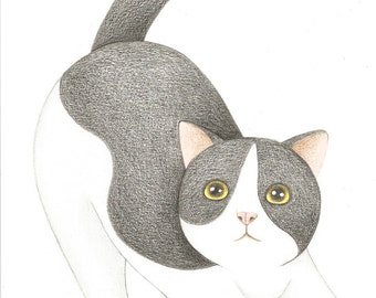 ON SALE 50% DISCOUNT, Original Cat Drawing, Black and White Cat Pencil Drawing, Cute Kitty Cat Illustration, Gift for cat Lovers