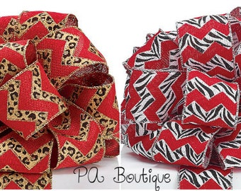 """5YDS of Red Burlap Leopard or Zebra Chevron Print 2-1/2"""" Wired Edge Ribbon (Free Shipping!)"""