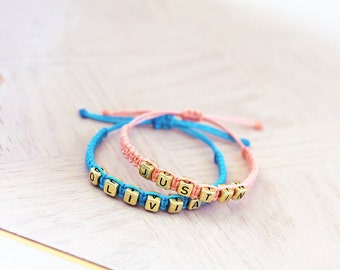 Couples Names Hemp Bracelets - Gold Letters - Hemp Jewelry