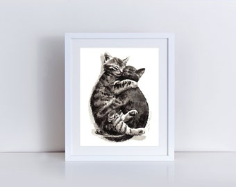 Kitty Hugs Giclee Print of Watercolor Cute Kittens Friends Cat Lady Best Buddies BFF Furry Fluffy Brother Sister Cats Painting