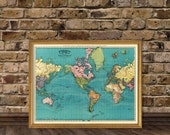 Vintage world map - Antique world map print  - Old map of the world - Archival world map  print - TWO versions