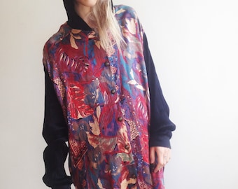 90s Floral Shirt Floral Blouse Oversized Shirt Grunge Slouchy Fit Medium