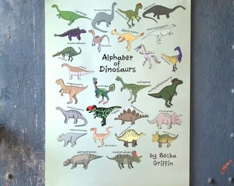 End of Line - Dinosaur Alphabet Poster - dinosaur art - poster for child's room - dinosaur poster - dinosaur decor - Alphabet of Dinosaurs