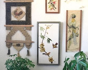 Large Mid Century Crewel Embroidered Bird Wall Art