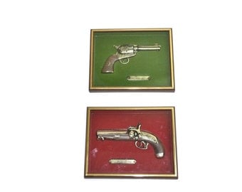Gun Shadow Box Colt 45 Gun Pill Lock Gun Framed Guns Replica Guns Antique Guns Vintage Weapons