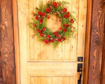 Fall Wreath-Summer Door Wreath-Wild RED ROSE Wreath-Artificial Wreath-Housewarming Gift-Rustic Home Decor-Outdoor Wreath-Scented Wreaths