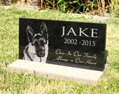 Pet Grave Marker Pet Memorial  Plaque Granite Head Stone & *Base Stand* Customized with YOUR Pets Photo Outdoor/Indoor Stand
