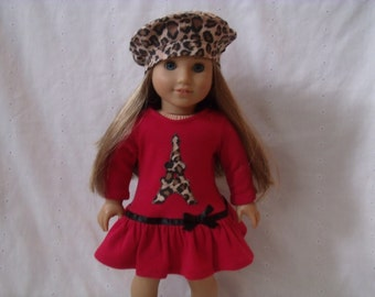 18 Inch Doll-American Girl drop waist ruffle dress: Eiffel Tower Paris dress with beret for Grace, Leopard