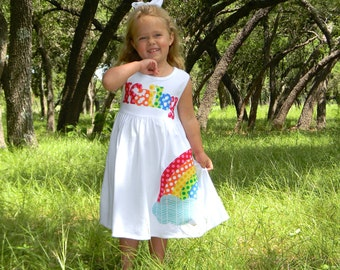 Personalized Rainbow Dress, Long Sleeved or Sleeveless, 3-6m to 8yrs