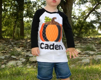 Boys Halloween Long Sleeved Personalized Pumpkin Shirt, Size 6-12m to 12yrs