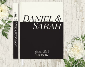 Wedding Guest Book Wedding Guestbook Black & White Wedding Guest Book Personalized Guest Book Rustic Wedding Classic Guest Book Modern GB108