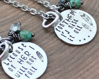 Mother Daughter Necklace Set, Ready To Ship, Quote Jewelry, Mother Daughter Jewelry, I Will Not Fall, I'd Risk It All, Mother Daughter Gifts