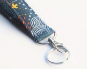 Handmade Key chain, Fabric Key Fob With Snap, Swirls and Stars