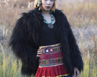 Long Gypsy Skirt Red Gypsy Skirt Banjara Mirror Skirt Tribal Boho Skirt Tribal Belly Dance Costume ATS Skirt Frida Kahlo Clothing Green Blue